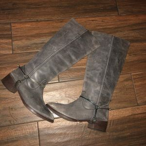 Shoes - Leather riding boots gray